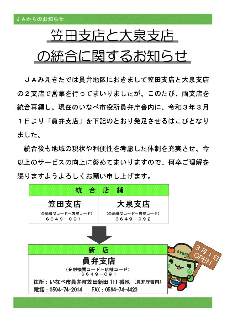 笠田支店・大泉支店チラシ(きらり令和3年1月折込)のサムネイル
